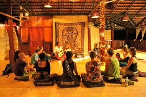 Hotel quests are invited to an intimate concert to sing along magical Sanskrit mantras with Oliver Narada